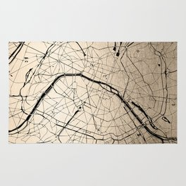 Paris France Minimal Street Map - Gold on Black II Rug