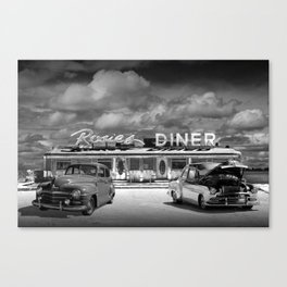 Black & White Photo of Classic Rosie's Diner with Vintage Cars Canvas Print