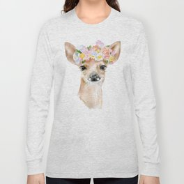 Deer Fawn Floral Watercolor Long Sleeve T-shirt