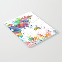 world map watercolor collage Notebook