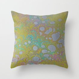 Easter Peacock Water Marbling Throw Pillow