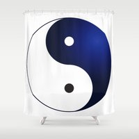ying yang Shower Curtains featuring Ying Yang by Timeless-Id