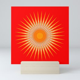 Vibrant Red Sun Mandala Mini Art Print