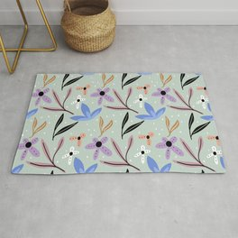 Colorful floral Cut Out Flowers and Shapes XII Rug