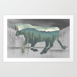 Bull in the Mountains Art Print