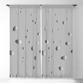 Convex drops and petals on a gray background in nacre. Blackout Curtain