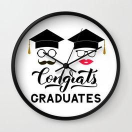 Congrats graduates lettering with photo booth props: graduation cap, lips, mustache, glasses Wall Clock
