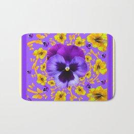LILAC PANSIES YELLOW BUTTERFLIES & FLOWERS Bath Mat