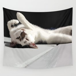 Upside Down Meow Wall Tapestry