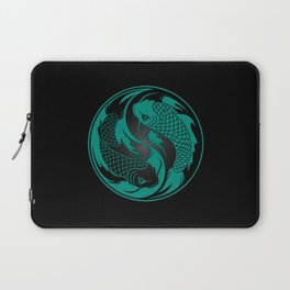 Teal Blue and Black Yin Yang Koi Fish Laptop Sleeve