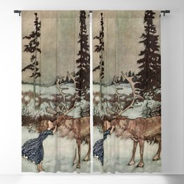 """Gerda Kisses The Reindeer"" by Edmund Dulac Blackout Curtain"