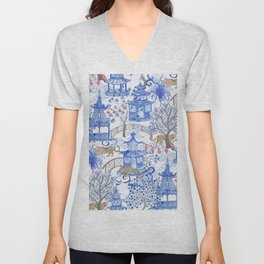Party Leopards in the Pagoda Forest Unisex V-Neck