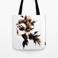 crow Tote Bags featuring Crow by Nora Bisi