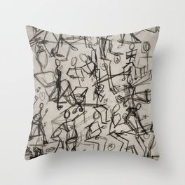 Charcoal Sketch Party People (diptych, part 1) Throw Pillow