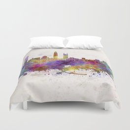 Shenzhen skyline in watercolor background Duvet Cover