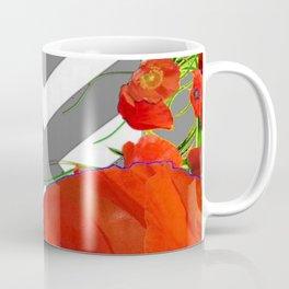 CONTEMPORARY ORANGE POPPIES MODERN ART Coffee Mug