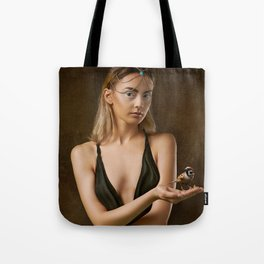 Girl with a Bird Tote Bag