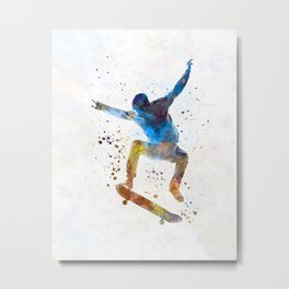 Man skateboard 01 in watercolor Metal Print