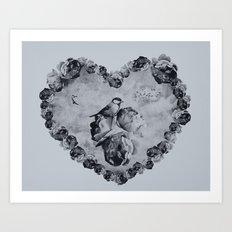 Blue Bird Heart Art Print