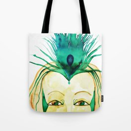 Goddess of Love and Womanhood with Peacock Feather Tote Bag