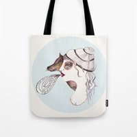 cassandra jean Tote Bags featuring Cassandra two: sly. by Tessa Sinclair Scott