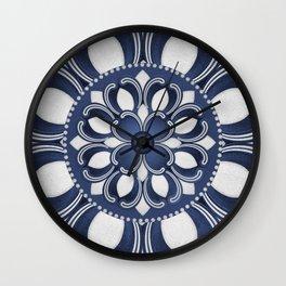 Spanish Flower in Blue Wall Clock
