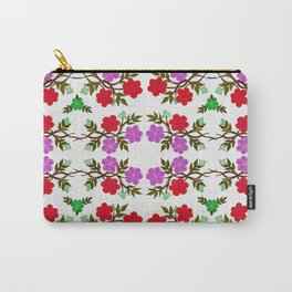 Red, Violet and Green Floral Branches Carry-All Pouch