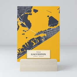 Galveston, Texas City Map with GPS Coordinates Mini Art Print