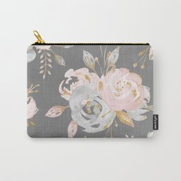 Night Rose Garden Gray Carry-All Pouch