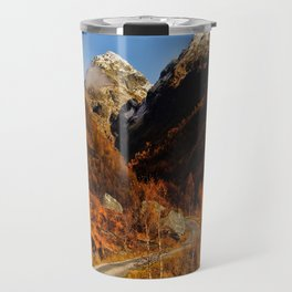 Fall in the mountains with a winding road Travel Mug