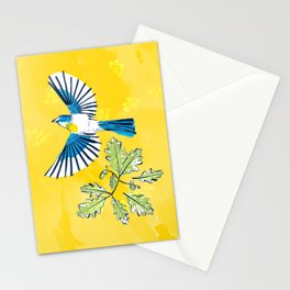 Flying Birds and Oak Leaves on Yellow Stationery Cards