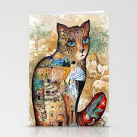 israel Stationery Cards featuring Cat of Israel by oxana zaika