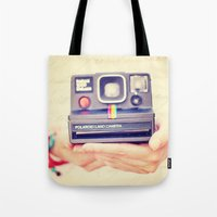 polaroid Tote Bags featuring Polaroid by Irene Miravete