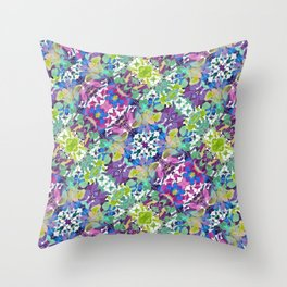 Colorful Modern Floral Print Throw Pillow