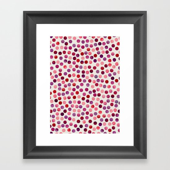 Watercolor Dots_Berry by zJacqueline and Garima Framed Art Print