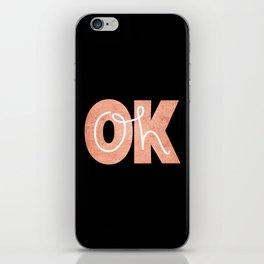 Oh Ok - Rose on Black iPhone Skin