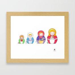 Watercolor matryoshka dolls : the four seasons Framed Art Print