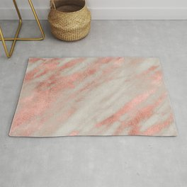 Smooth rose gold on gray marble Rug