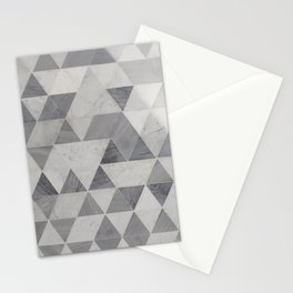 Gradient Gray Triangles Polygon Mosaic Pattern Stationery Cards