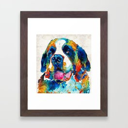 Colorful Saint Bernard Dog by Sharon Cummings Framed Art Print