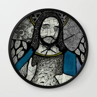 jesus Wall Clocks featuring Jesus  by Luciana Pupo