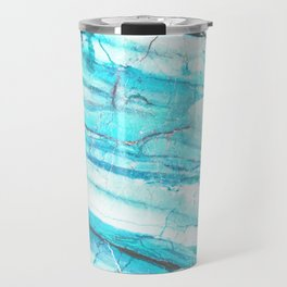 White Marble with Blue Green Veins Travel Mug