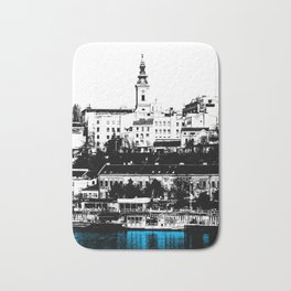 Port on the River Sava in Belgrade / BLUE Bath Mat