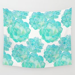 Rosette Succulents – Turquoise Palette Wall Tapestry