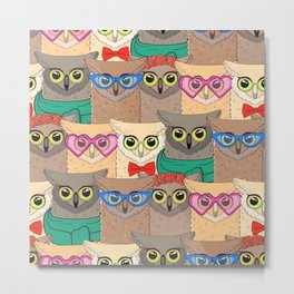 Pattern with cute owls with trendy accessories - glasses, bow-tie, flowers, scarf Metal Print