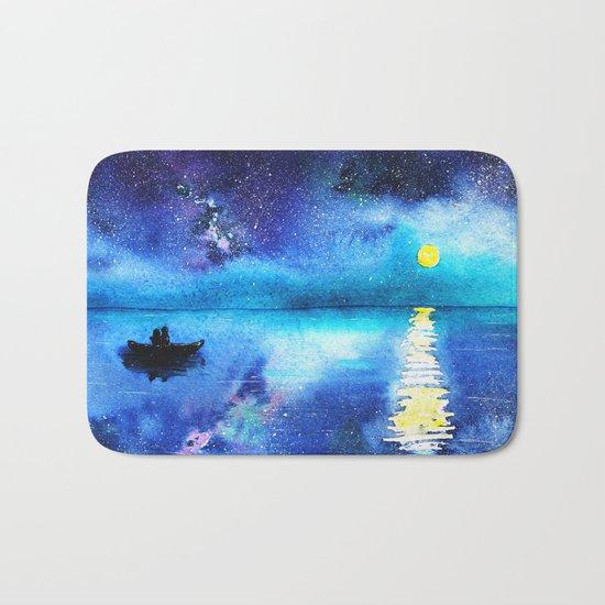 Under the moonlight || watercolor Bath Mat