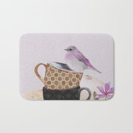 Bird in tea cup Bath Mat