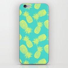 Pineapple Pattern - Turquoise & Lemon iPhone Skin