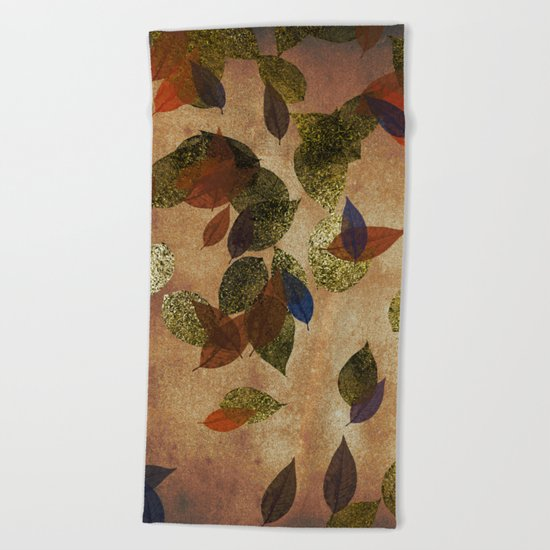 Autumn-world 3 - gold glitter leaves on dark backround Beach Towel