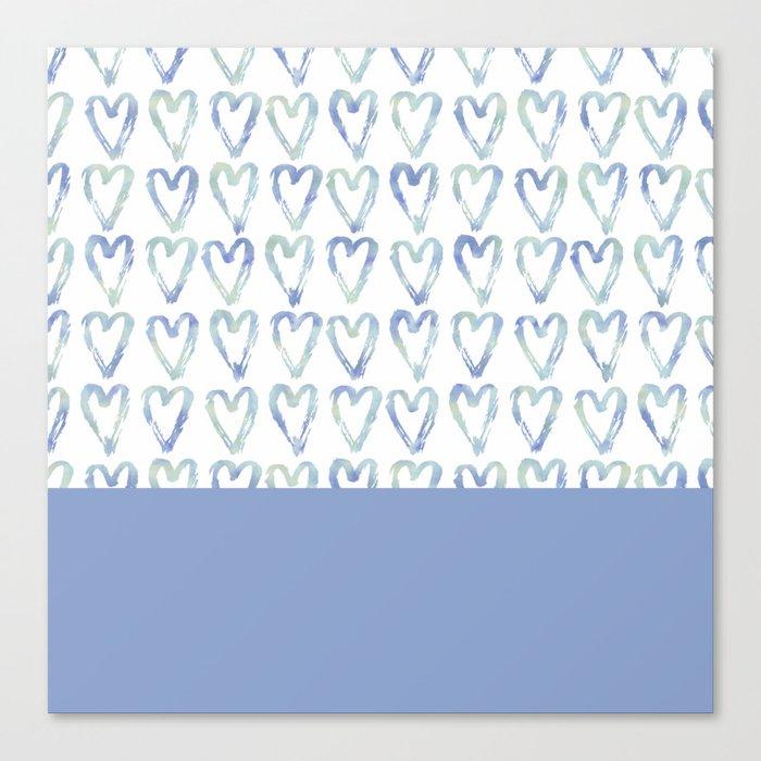 Heart Pattern Blue Canvas Print
